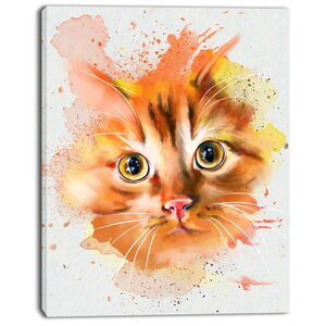 'Lovely Red Watercolor Cat' Painting Print on Wrapped Canvas by Design Art