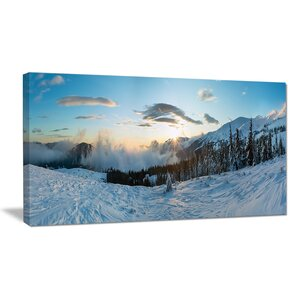 Morning Winter Carpathian Mountains Landscape Photographic Print on Wrapped Canvas by Design Art