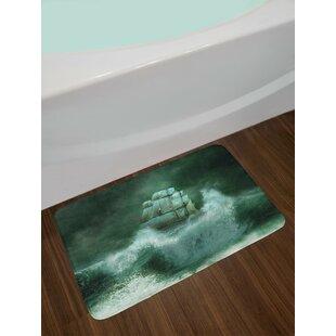 Old Jade Green Dark White Pirate Ship Bath Rug