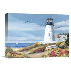'Lighthouse Harbor I' by Kathleen Denis Painting Print on Wrapped Canvas by Global Gallery