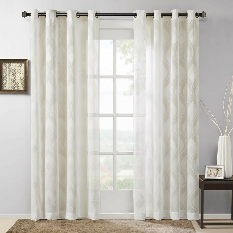 Wade Logan Ivan Geometric Sheer Grommet Single Curtain