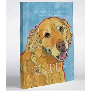 Doggy Decor Golden Retriever 1 Painting Print on Wrapped Canvas by One Bella Casa
