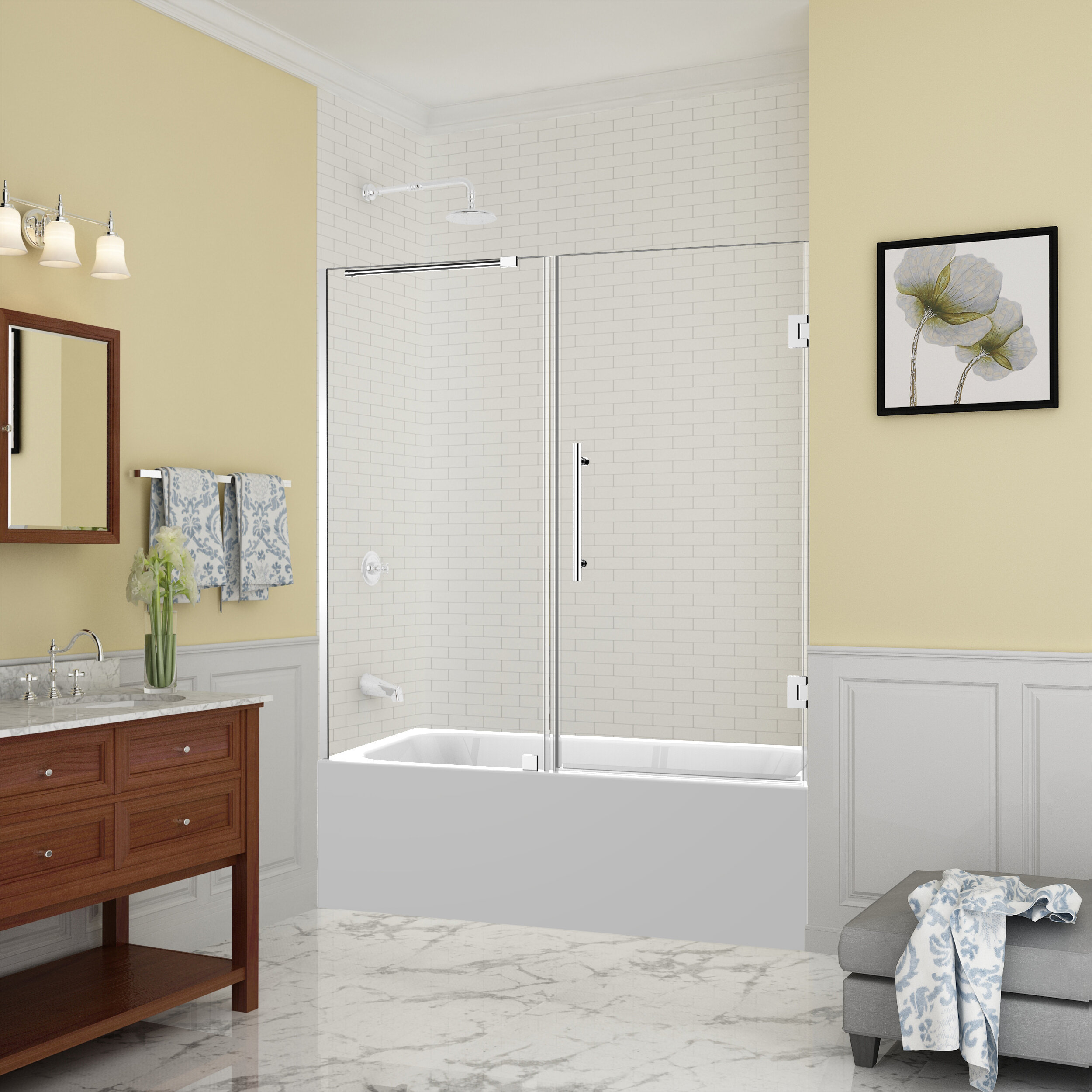 Belmore 60 X 60 Hinged Frameless Tub Door