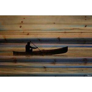 'Canoe On Calm Lake' by Parvez Taj Painting Print on Natural Pine Wood by Loon Peak