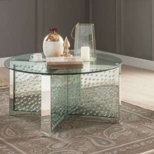 Order Umana Modern Round Glass and Faux Crystal Coffee Table By Orren Ellis