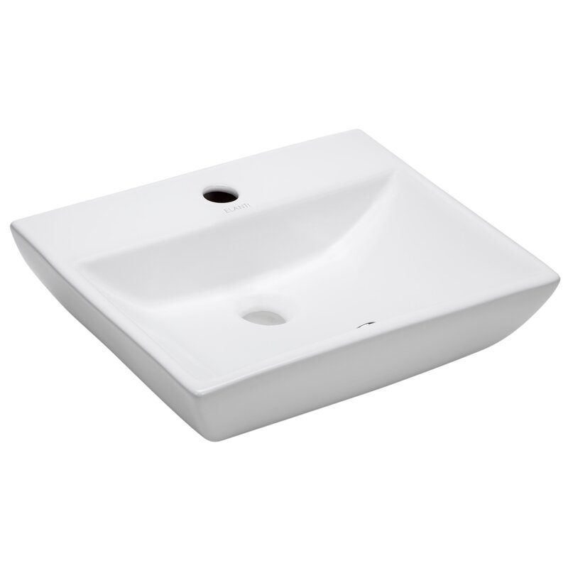 Elanti Modern Compact Ceramic 18 Wall Mount Bathroom Sink With