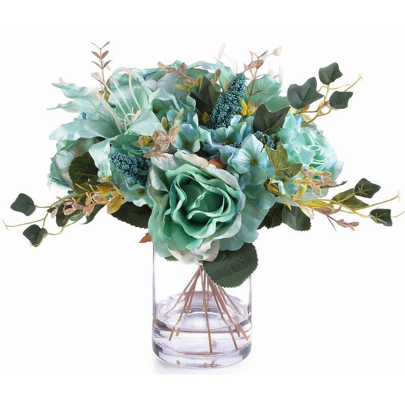Mixed Silk Flower Arrangement In Vase