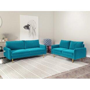 Chaeli 2 Piece Standard Velvet Living Room Set by Mercer41