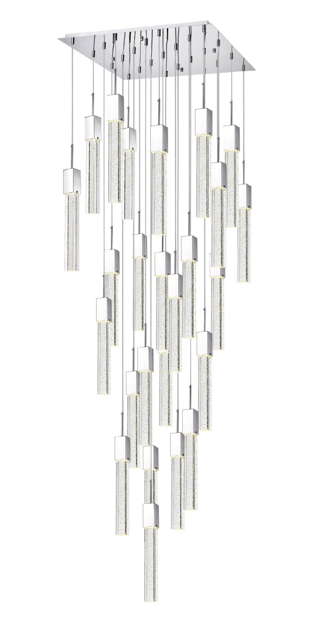Orren Ellis Hoosier 25 Light Cluster Square Rectangle Led Pendant Wayfair