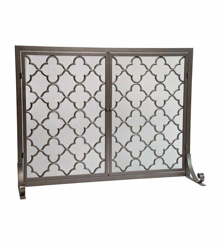 Nice Geometric Single Panel Steel Fireplace Screen