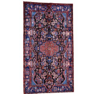 One-of-a-Kind Noto New Nahavand Hand-Knotted 5'6 x 9'8 Wool/Silk Navy Blue Oriental Area Rug by Bloomsbury Market