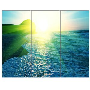 'Foaming Blue Waves' 3 Piece Wall Art on Wrapped Canvas Set by Design Art