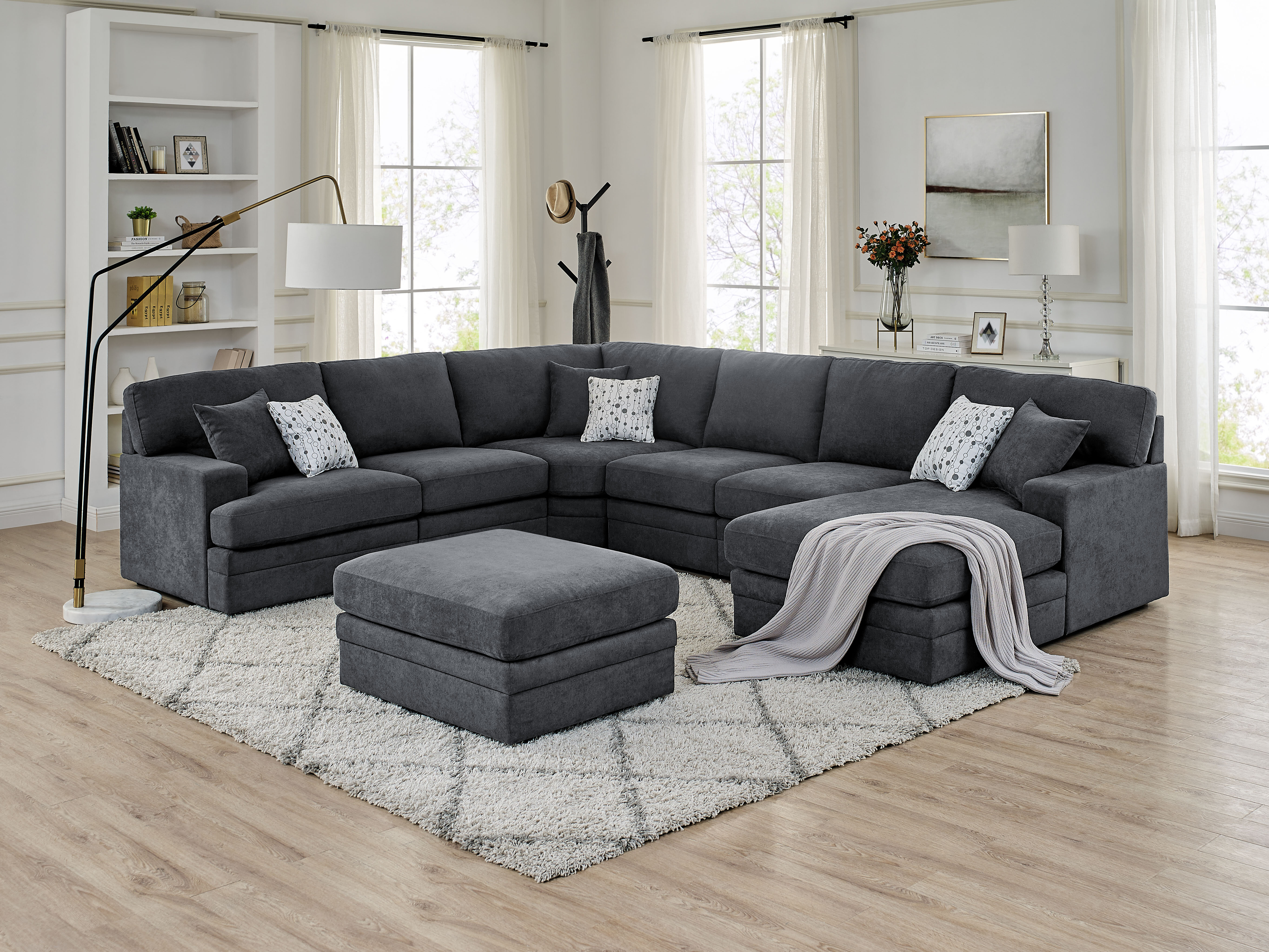 ebern designs episkopi 5 seater large 139 right hand facing sectional sofa with ottoman w