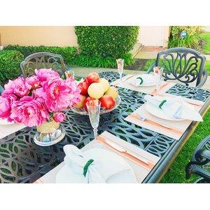 Nina Traditional Rectangular 9 Piece Dining Set with Cushions