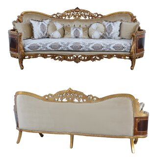 Hand Carved Wood And Polyester Curved Sofa In Baroque Style,Multicolor by Astoria Grand SKU:EE733641 Purchase