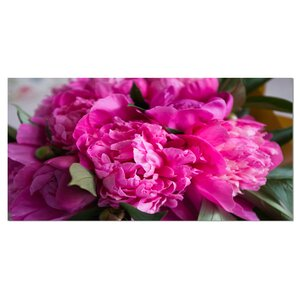 'Pink Peonies on Wooden Background' Photographic Print on Wrapped Canvas by Design Art