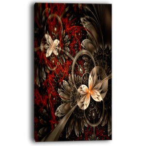 Red and Orange Fractal Flower Pattern Graphic Art on Wrapped Canvas by Design Art