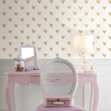 Akeman Gold Heart Spot 16 5 L X 20 W And Stick Wallpaper Roll
