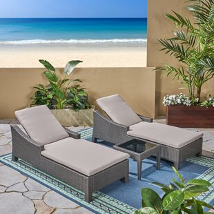 Vern Outdoor Sun Lounger Set with Cushions and Table By Highland Dunes