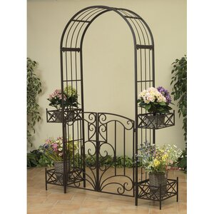 Garden Metal Arbor with Gates and Planters