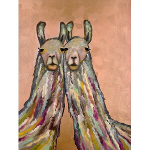 'Snuggling Llamas' by Eli Halpin Print of Painting on Canvas by GreenBox Art