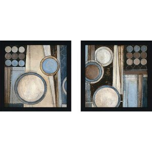 Blue Notes II' 2 Piece Framed Acrylic Painting Print Set Under Glass by Charlton Home