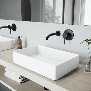 Best Price Magnolia Stone Rectangular Vessel Bathroom Sink with Faucet By VIGO