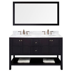 templeton 60 double bathroom vanity set with white carrara top and mirror