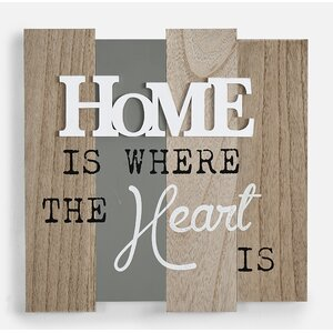 'Home is Where the Heart Is' Textual Art on Wood by Winston Porter