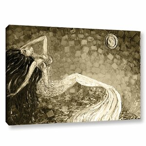 'Mermaid Sepia' Painting Print on Wrapped Canvas by Beachcrest Home