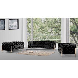 Anika 3 Piece Velvet Living Room Set by Everly Quinn