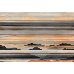 'Desert Mountains'Graphic Print on White Wood by Parvez Taj