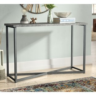 Wheaton Slate Faux Concrete Rectangular Console Table