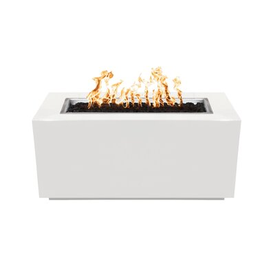 """The Outdoor Plus Pismo Steel Fire Pit Table  Finish: White, Size: 24"""" H x 48"""" W x 24"""" D, Fuel Type: Propane"""