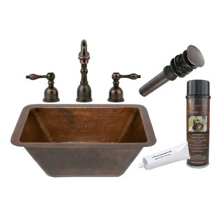Read Reviews Hammered Metal Rectangular Undermount Bathroom Sink with Faucet ByPremier Copper Products