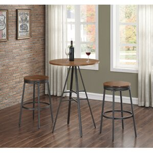 Aquirre 3PC Pub Height Table Set with Backless Swivel Stools by Mercury Row