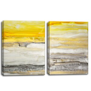 'New Sunset I/II' 2 Piece Painting Print on Wrapped Canvas Set (Set of 2) by Trent Austin Design