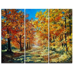 Bright Day in Autumn Forest - 3 Piece Painting Print on Wrapped Canvas Set by Design Art