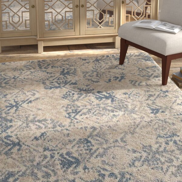 Bungalow Rose Miamisburg Beige/Blue Area Rug by Bungalow Rose