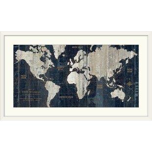 Framed World Map Wall Art Youll Love Wayfair - World map sepia toned
