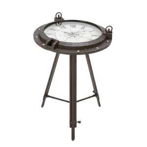 Vintage Porthole Clock End Table by ABC Home Collection
