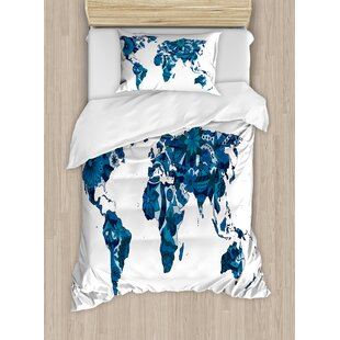 World map bedding sets wayfair world map lilac flowers covered earth continents unusual eco plants globe display duvet set gumiabroncs Gallery
