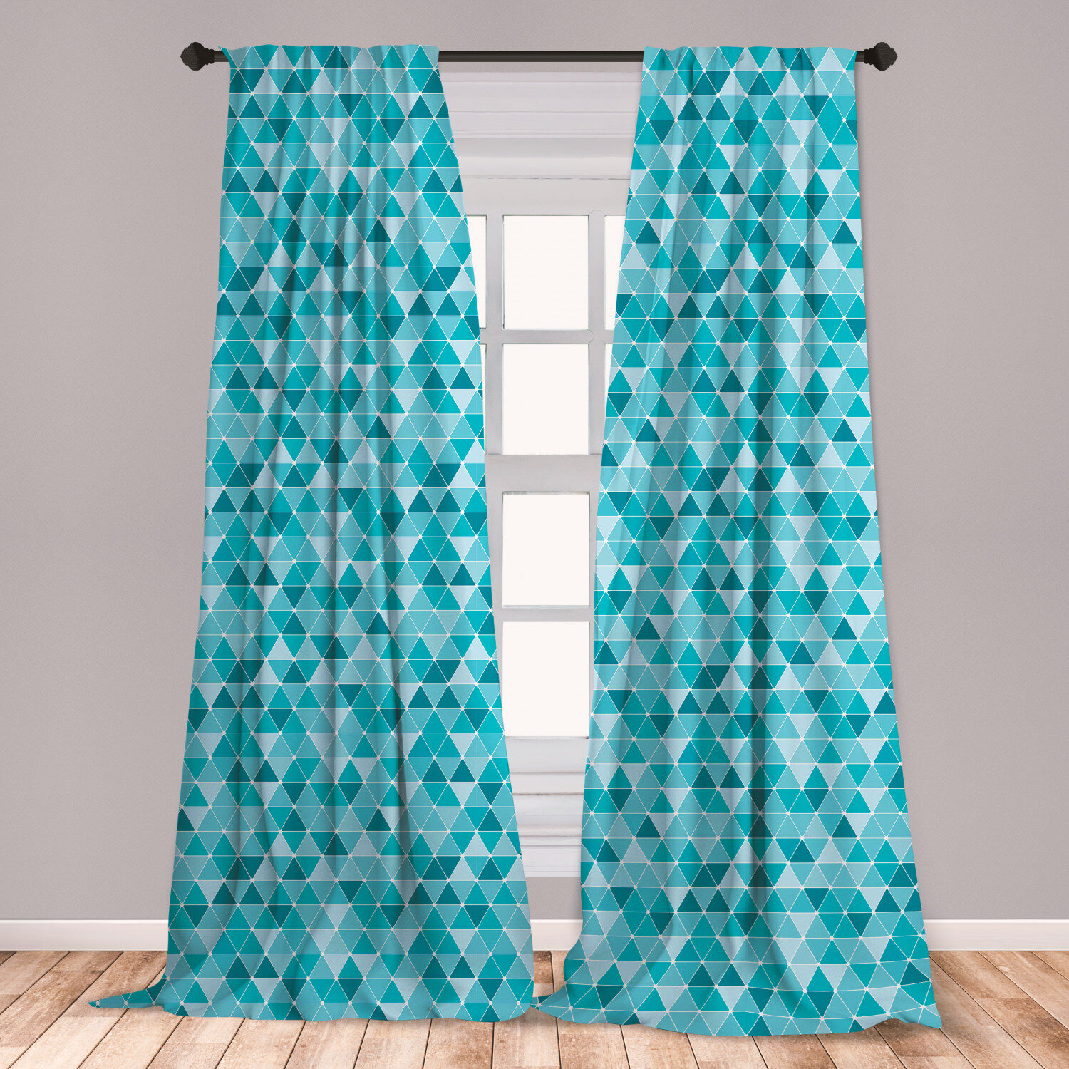 East Urban Home Ambesonne Blue Curtains, Geometric Pattern With