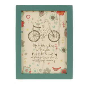 'Life Is Like with Bicycle' Framed Textual Art on Wood by Blossom Bucket