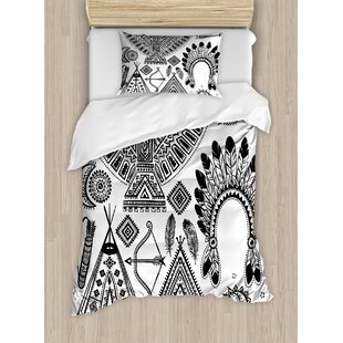 Able Tribal Duvet Cover Set Native American Feather Head Band Ethnic Teepee Tent Bow And Arrow Art Print 4 Piece Bedding Set Home & Garden