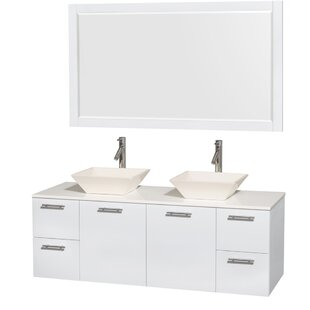 Affordable Amare 60 Double White Bathroom Vanity Set with Mirror ByWyndham Collection