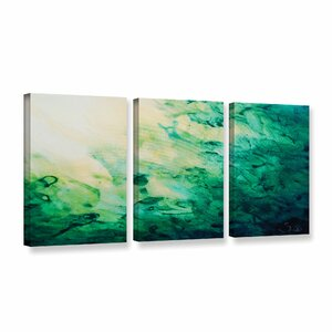 Green Watery Abstract by Shiela Gosselin 3 Piece Painting Print on Wrapped Canvas Set by ArtWall