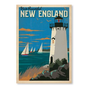 'New England Lighthouse' Vintage Advertisement by Breakwater Bay