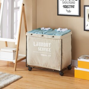 army canvas laundry hamper on wheel