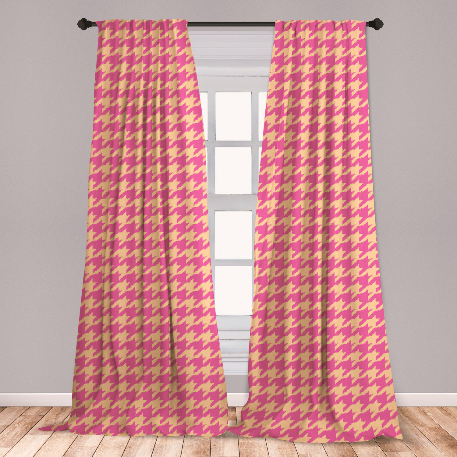 Ambesonne Houndstooth Curtains